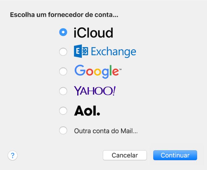 """A caixa de diálogo para escolher um tipo de conta de e‑mail, com as opções iCloud, Exchange, Google, Yahoo!, AOL e """"Outra conta do Mail""""."""