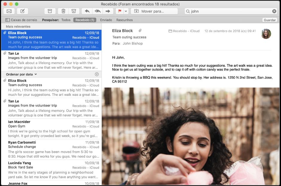 """A janela do Mail com a palavra """"romano"""" escrita no campo de pesquisa e os resultados """"Mais relevantes"""" no topo dos resultados da pesquisa na lista de mensagens."""
