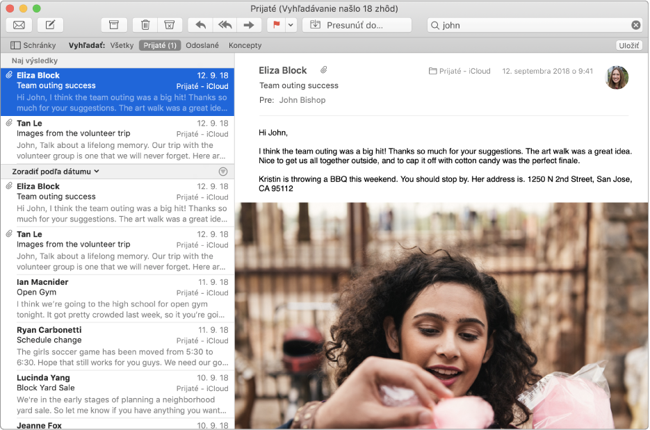 """Okno aplikácie Mail so slovom """"john"""" vo vyhľadávacom poli aNaj výsledky vhornej časti výsledkov vyhľadávania vzozname správ."""
