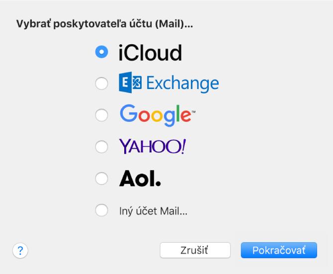Dialógové okno na výber typu emailového účtu, ktoré zobrazuje možnosti iCloud, Exchange, Google, Yahoo!, AOL aIný účet Mail.