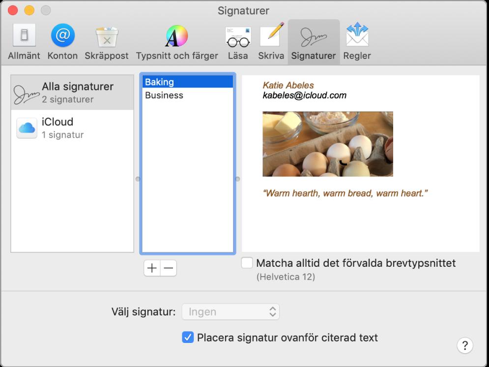 Inställningspanelen Signaturer i Mail som visar en signatur som innehåller formaterad text och en bild.