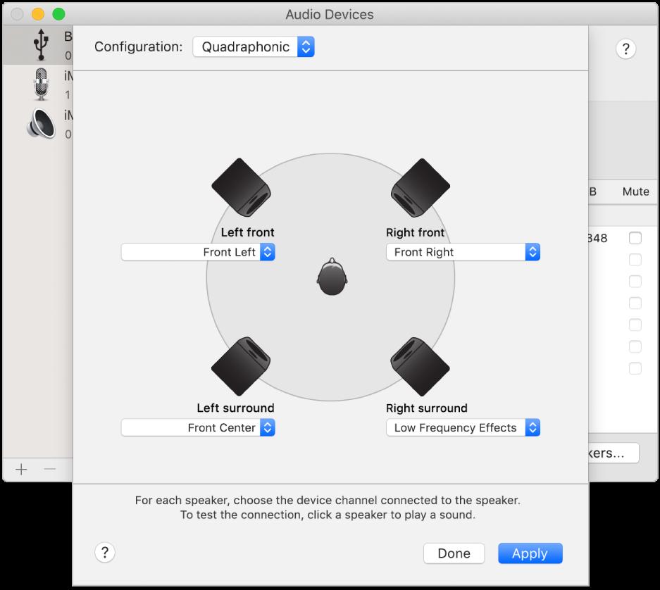 The configure speakers dialogue showing a quadraphonic speaker configuration.