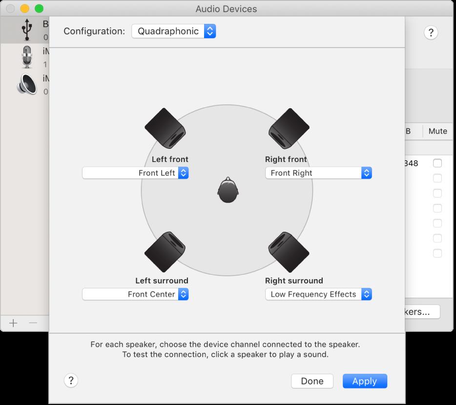 The configure speakers dialog showing a quadraphonic speaker configuration.