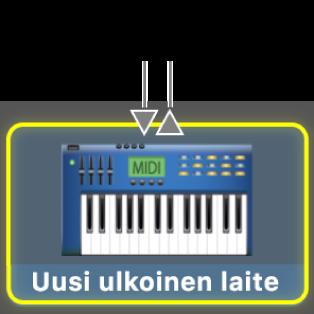 MIDI-laitteen MIDI-tulo ja MIDI-lähtö.