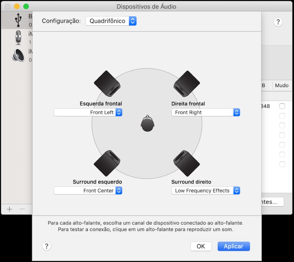 Diálogo de configuração do alto-falante mostrando uma configuração de alto-falante quadrifônico.