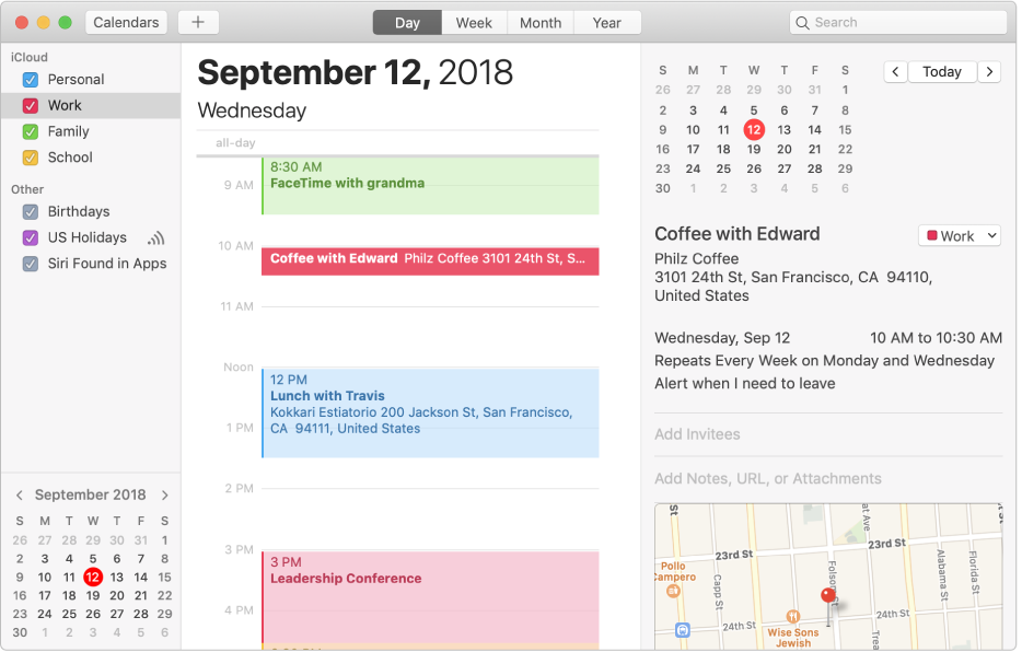 A Calendar window in Day view showing color-coded personal, work, and family calendars in the sidebar under the iCloud account heading and another calendar under the Exchange account heading.