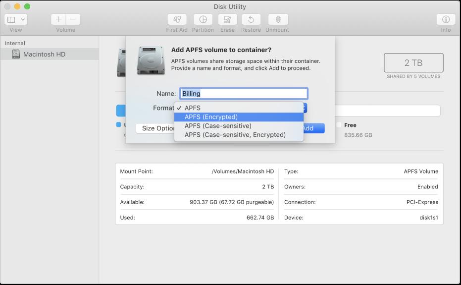 خيار APFS (مشفر) في قائمة التنسيق.