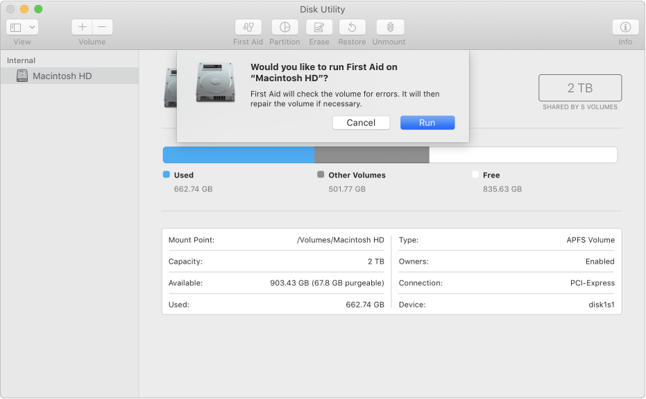 The First Aid dialogue in the Disk Utility toolbar.