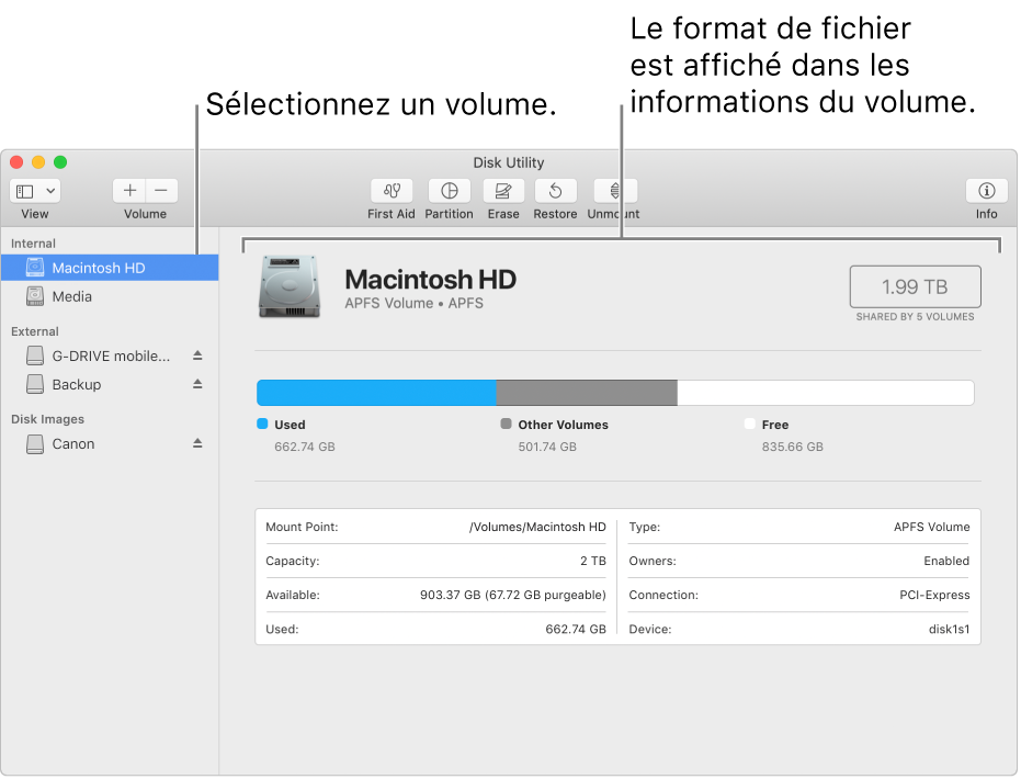 La fenêtre Utilitaire de disque affichant un volume MacOSétendu.