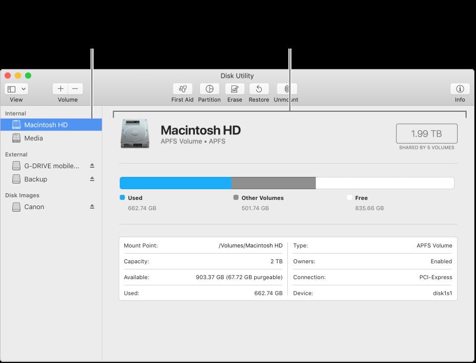 A Lemezkezelő ablaka, Mac OS kibővített kötettel.