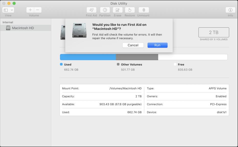 Dialog Pertolongan Pertama di bar alat Utilitas Disk.