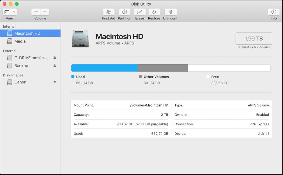 Empat volume di wadah APFS di bar samping Utilitas Disk.