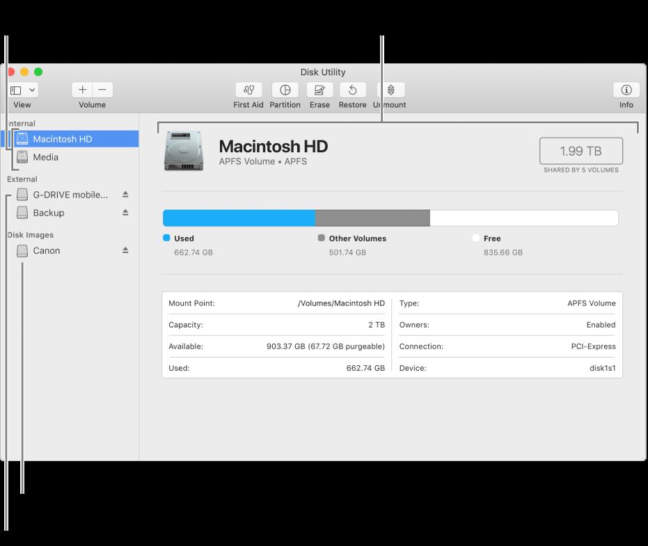 Окно Дисковой утилиты, в котором показан внутренний диск с томом APFS, том на внешнем диске и образ диска.