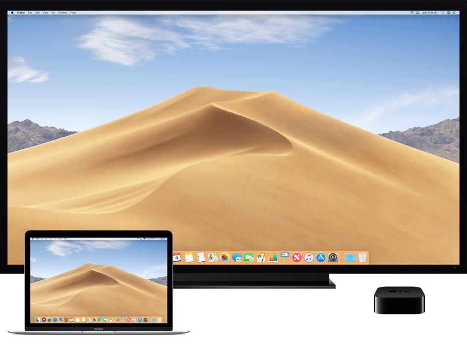 Mac computer, HDTV, and Apple TV setup