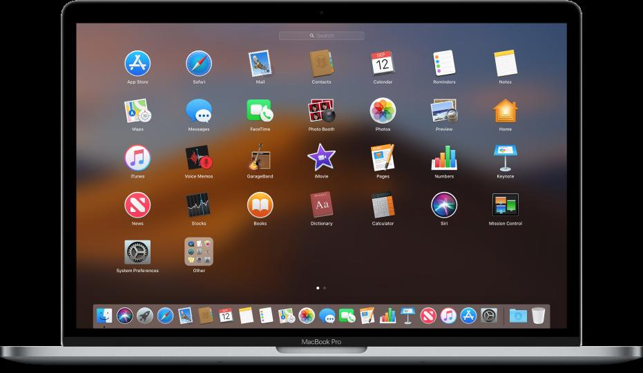 Launchpad s prikazom ikona aplikacija u uzorku rešetke preko zaslona.