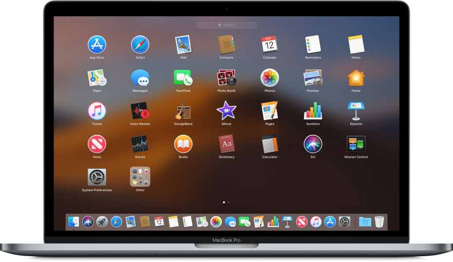 Launchpad met programmasymbolen in de vorm van een raster op het scherm.
