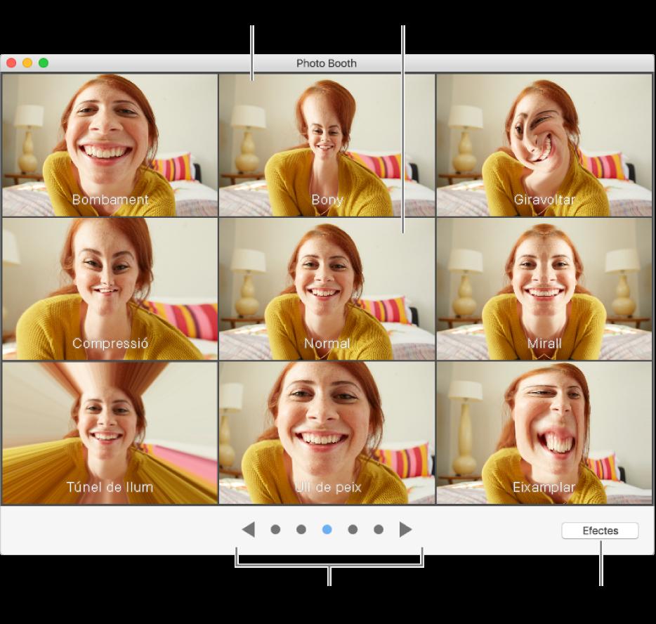 Finestra del Photo Booth que mostra els efectes disponibles. Fes clic a l'efecte que vols utilitzar. Si no vols utilitzar cap efecte, fes clic a Normal a la part central.