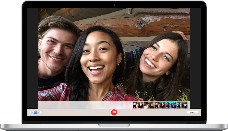 Picture showing three smiling people in a selfie.