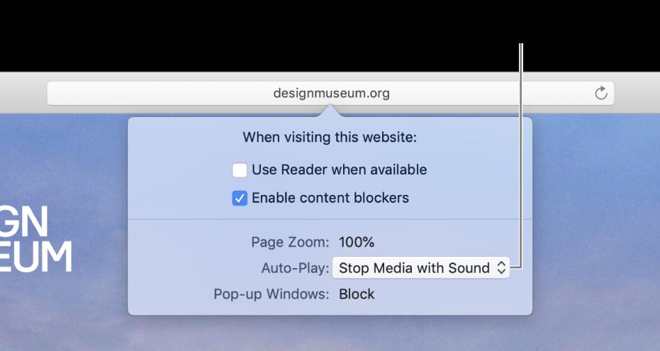 กล่องโต้ตอบที่ปรากฏขึ้นใต้ช่องค้นหาอัจฉริยะเมื่อคุณเลือก Safari > การตั้งค่าของเว็บไซต์นี้ กล่องโต้ตอบประกอบด้วยตัวเลือกต่างๆ สำหรับกำหนดวิธีที่คุณท่องเว็บไซต์ปัจจุบัน ซึ่งรวมถึงการใช้มุมมองตัวอ่าน การเปิดใช้งานตัวปิดกั้นเนื้อหา และอื่นๆ