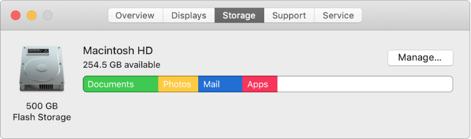 The Storage pane in System Information, showing a graphical representation of your storage.