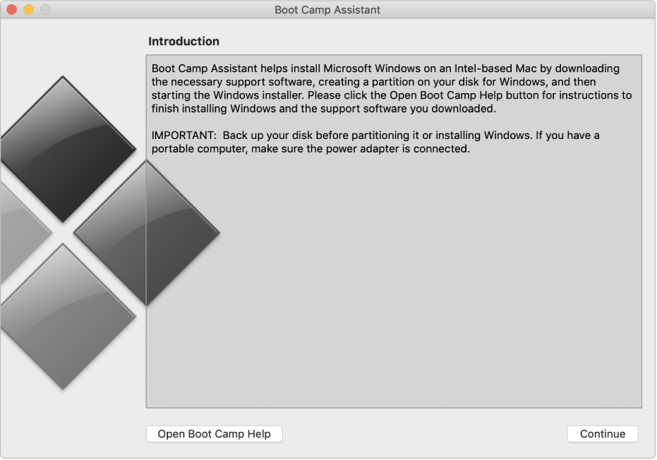 The Boot Camp introduction pane, showing a button to click for help and a button to continue with the installation.