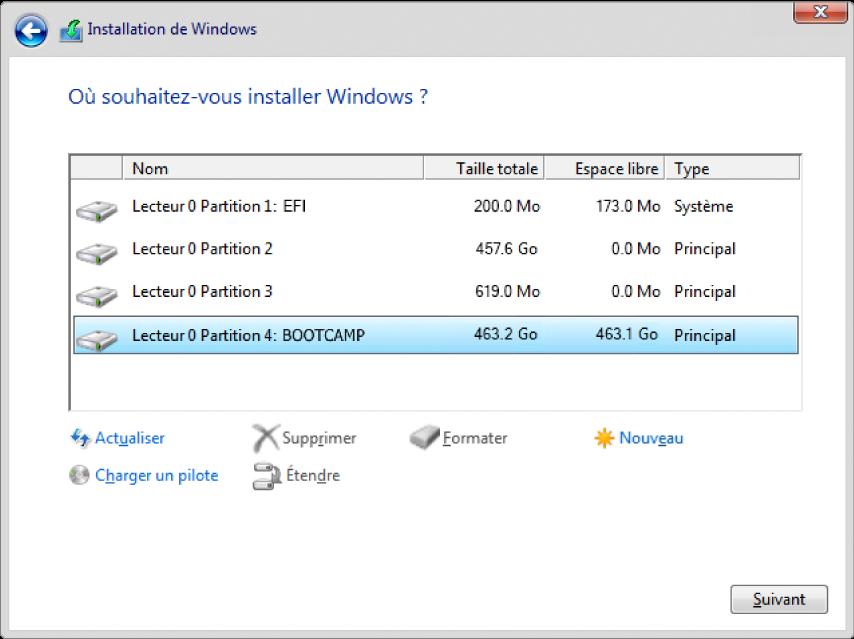 Dans la configuration de Windows, la zone de dialogue «Où souhaitez-vous installer Windows?» est ouverte, et la partition BOOTCAMP est sélectionnée.