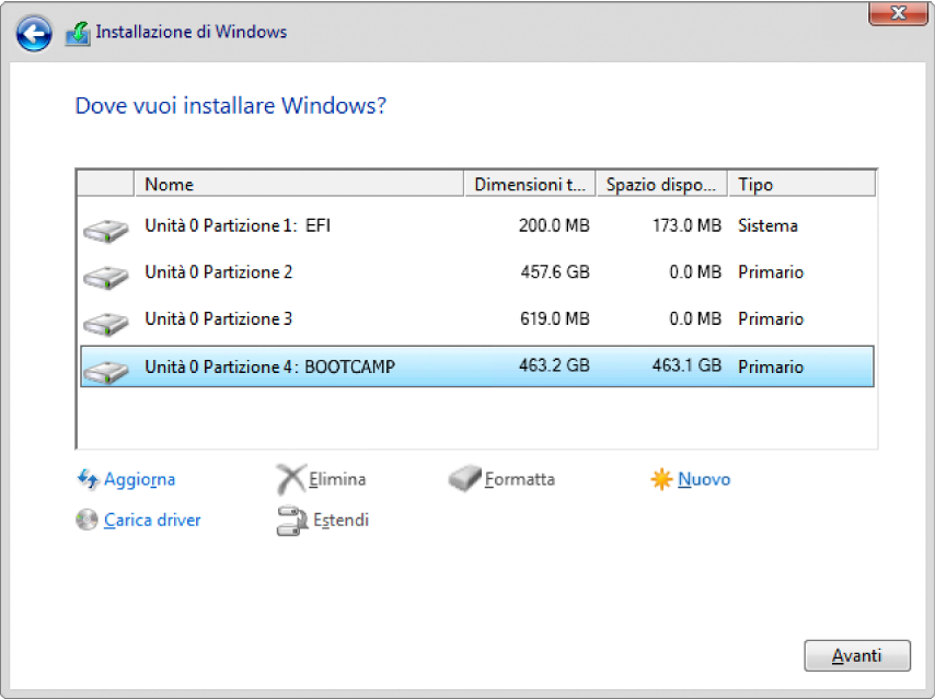 """Nella configurazione di Windows, la finestra di dialogo """"Dove vuoi installare Windows?"""" aperta e la partizione BOOTCAMP selezionata."""