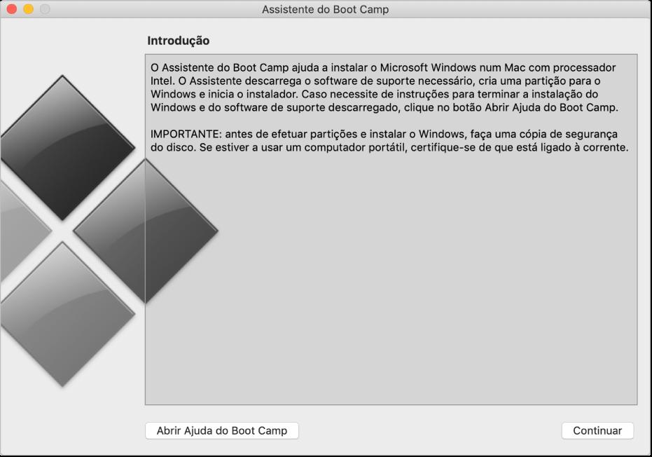 Painel de introdução do Boot Camp, a mostrar um botão para clicar e obter ajuda e um botão para continuar a instalação.