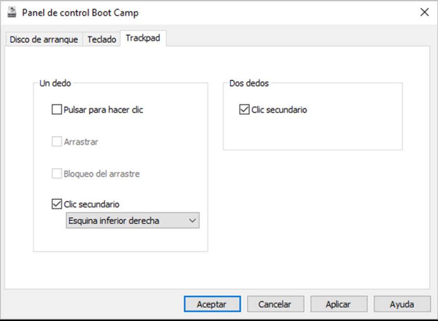 """El panel de control de BootCamp con el panel de opciones del trackpad, en el que puedes seleccionar los gestos de uno y dos dedos que quieras usar, como """"pulsar para hacer clic"""" y la ubicación del clic secundario en el trackpad."""