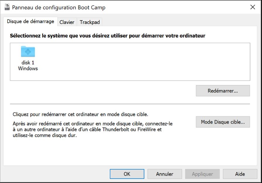 Le panneau de configuration BootCamp affichant le volet de sélection du disque de démarrage, qui comprend également des options afin de redémarrer votre ordinateur ou utiliser le mode disque cible.