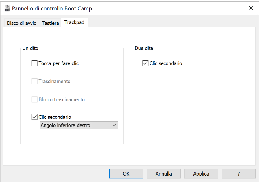 """Pannello di controllo di Boot Camp che mostra il pannello delle opzioni del Trackpad, in cui è possibile selezionare le azioni a una o due dita che vuoi utilizzare, come le posizioni """"Tocca per fare clic"""" e """"Clic secondario"""" sul trackpad."""