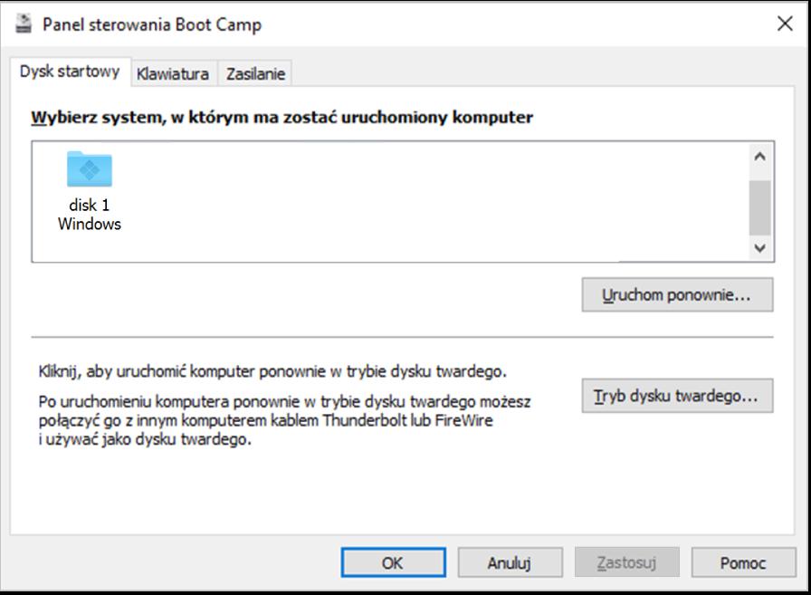 Widoczny wybór dysku startowego wpanelu sterowania Boot Camp, wktórym widoczne są także opcje ponownego uruchamiania komputera lub używania komputera wtrybie dysku twardego.