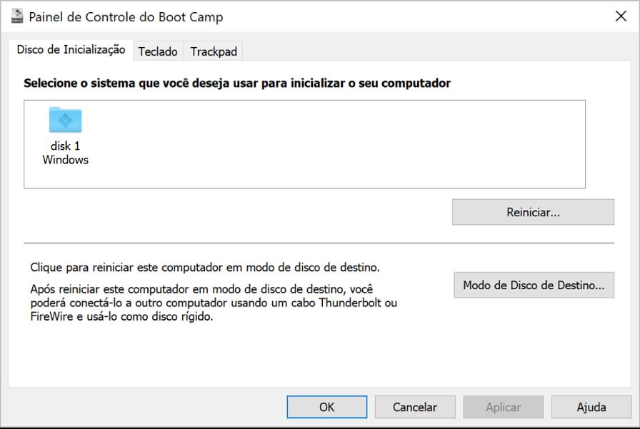 O Painel de Controle do Boot Camp mostrando o painel de seleção de disco de inicialização, que também inclui opções para reiniciar o computador ou usá-lo em modo de disco de destino.