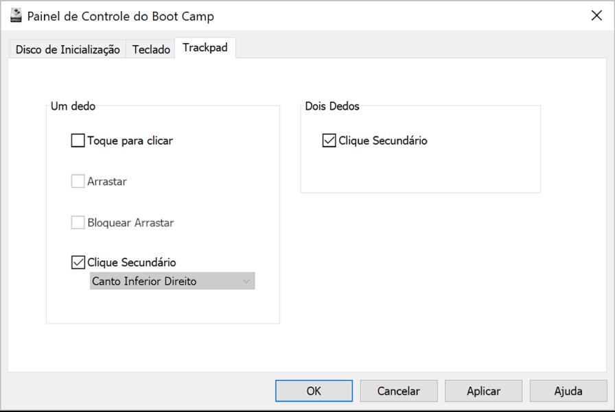 O Painel de Controle do Boot Camp mostrando o painel de opções do Trackpad, onde é possível selecionar os gestos de um e dois dedos que você quer usar, como Tocar para Clicar e a localização do Clique Secundário no trackpad.