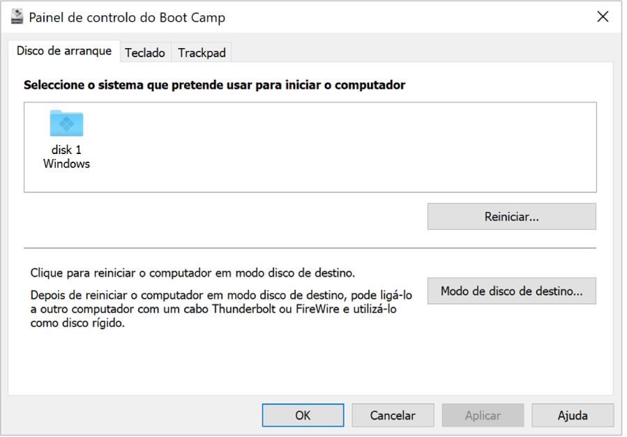 O Painel de controlo do Boot Camp a mostrar o painel de seleção do disco de arranque, que também inclui opções para reiniciar o computador e para usar o computador no modo disco de destino.