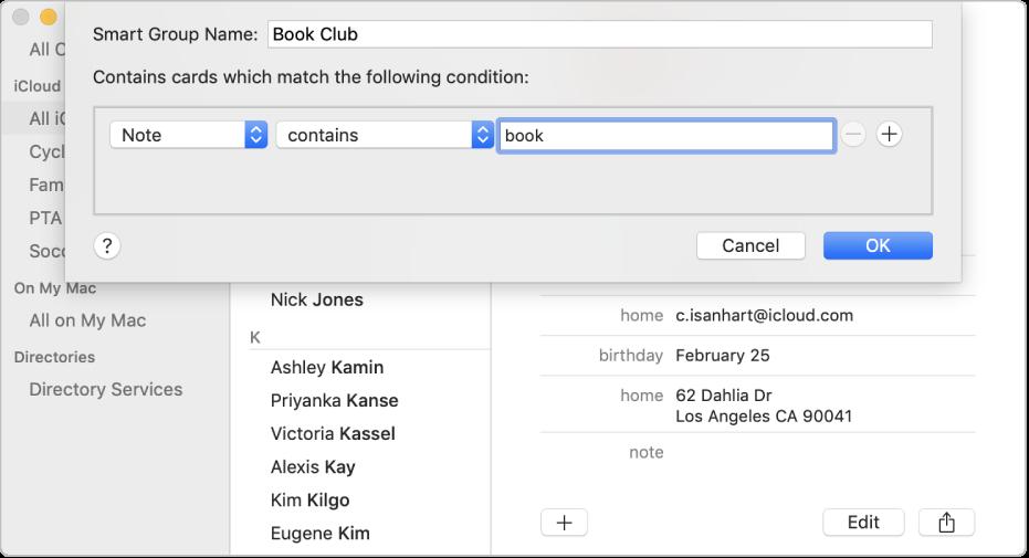 """نافذة إضافة مجموعة ذكية، مع مجموعة باسم """"نادي الكتب"""" تتضمن جهات الاتصال التي لديها كلمة """"كتاب"""" في حقل """"الملاحظة"""" الخاص بها."""