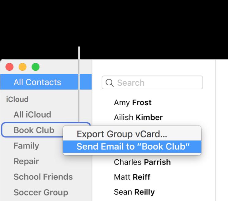senden einer e mail an eine gruppen von kontakten in der app kontakte auf dem mac apple support. Black Bedroom Furniture Sets. Home Design Ideas