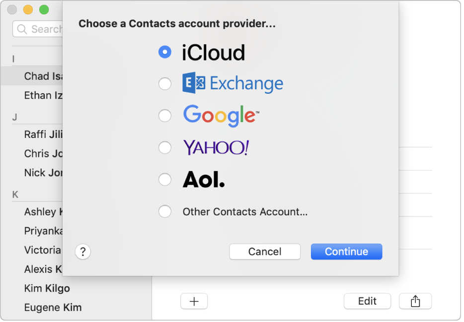 """Das Fenster zum Hinzufügen von Internetaccounts zur App """"Kontakte"""
