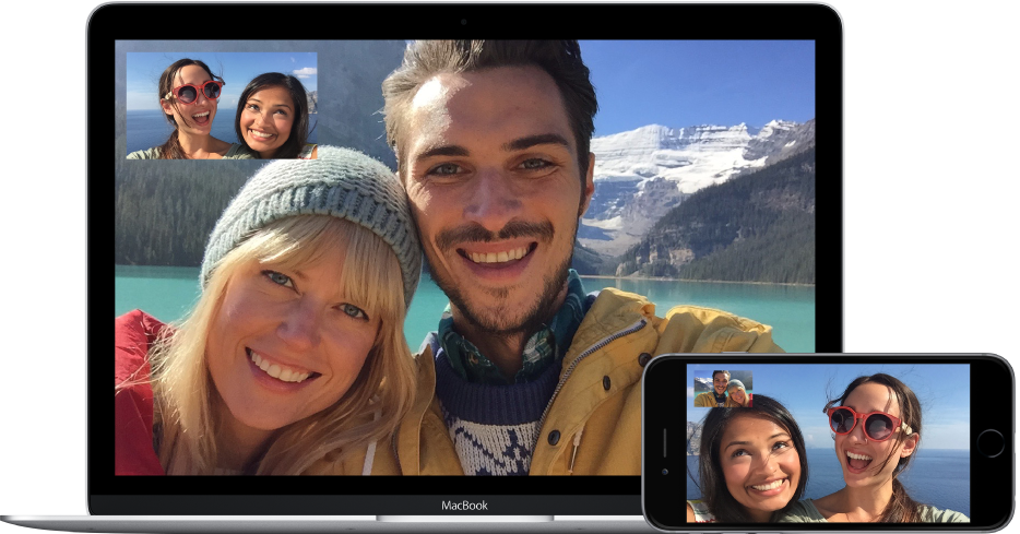 Two friends making a FaceTime video call with a couple. The two friends, who are using a MacBook, see the couple in the main image, and see themselves in the picture-in-picture image in the top-left corner of the screen. The couple is using the iPhone, and see their friends in the main image and themselves in the top corner.