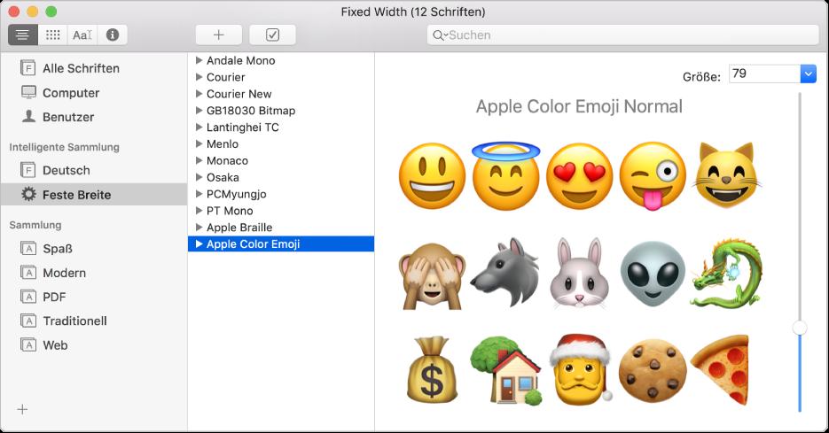 """Das Fenster """"Schriftsammlung"""" mit der Schrift """"Apple Color Emoji"""""""