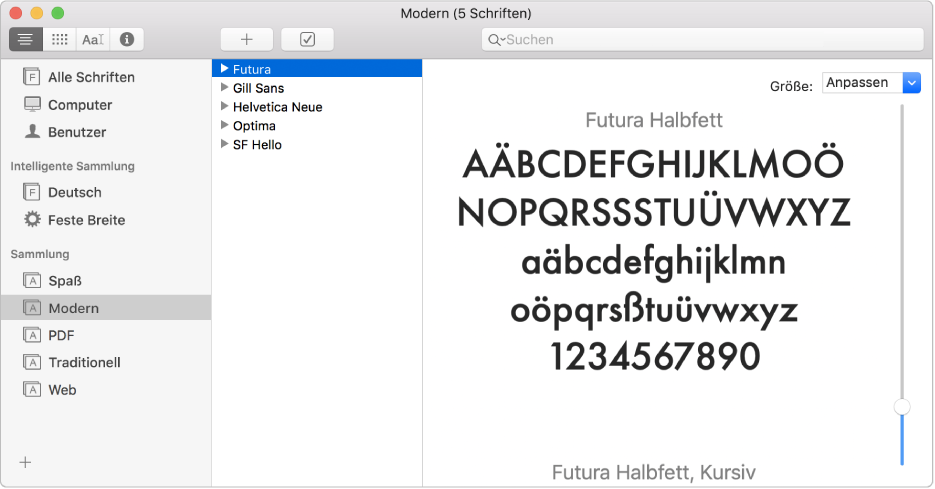 "Das Fenster ""Schriftsammlung"" mit der Schriftsammlung ""Modern"""
