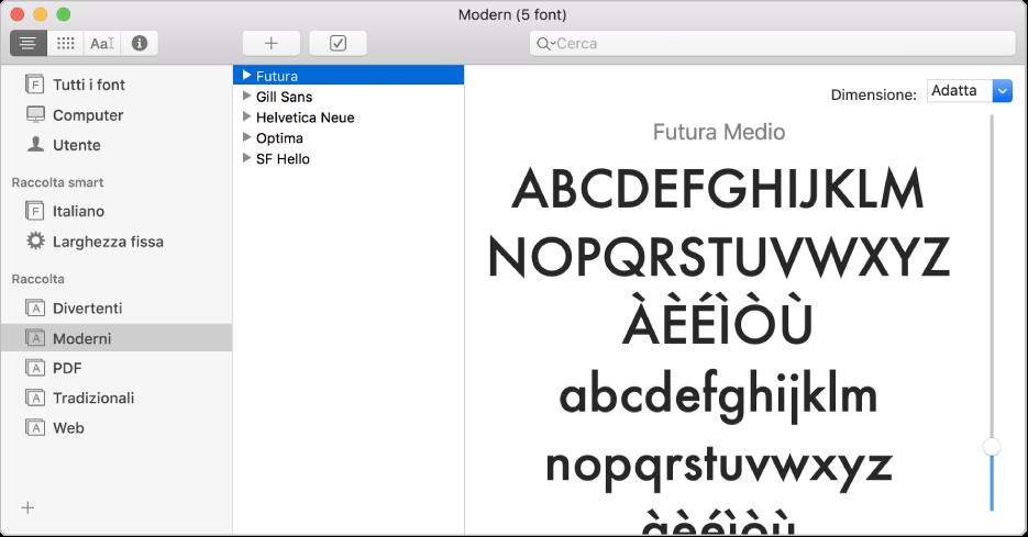 La finestra di Libro Font che mostra la raccolta Moderno.