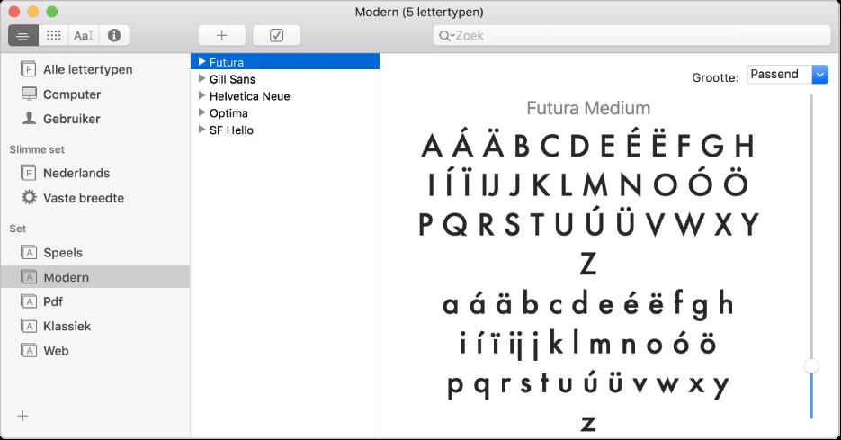 Het venster van Lettertypecatalogus met de lettertypeset Modern.