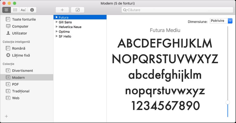 Fereastra Font Book afișând colecția de fonturi Modern.