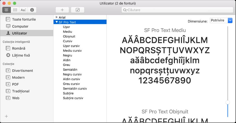 Fereastra Font Book afișând un font instalat recent.
