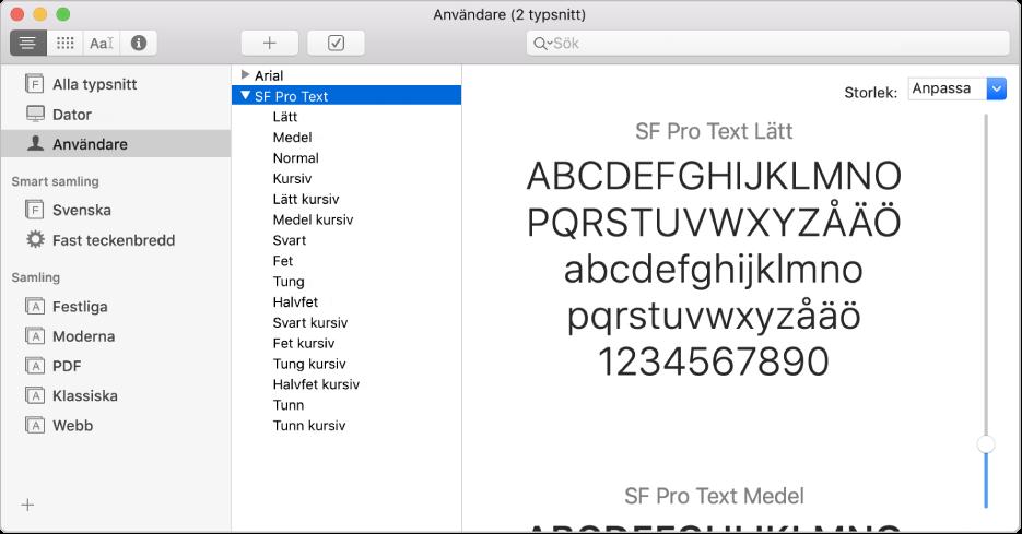 Fönstret Typsnittsbok med ett nyligen installerat typsnitt.