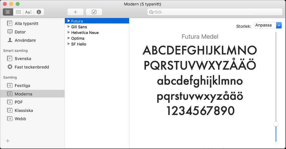 Fönstret Typsnittsbok med typsnittssamlingen Modern.