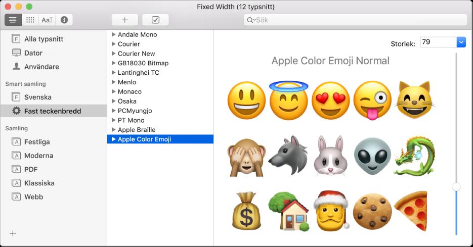 Fönstret Typsnittsbok med typsnittet Apple Color Emoji.