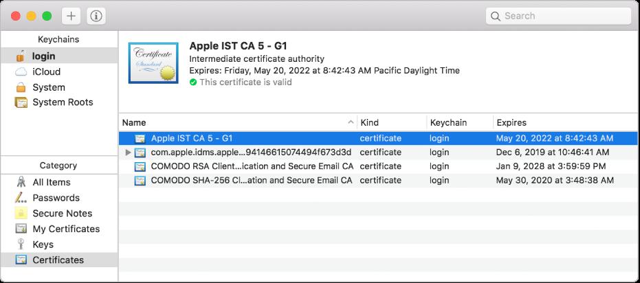Venster van Sleutelhangertoegang met certificaten.