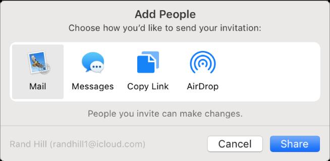 Das Fenster zum Hinzufügen von Personen, in dem du auswählen kannst, wie die Einladung versendet werden soll, die andere zur Zusammenarbeit an einer Notiz erhalten.